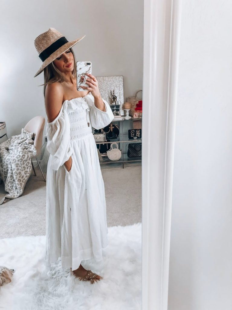 nordstrom endless summer by free people white ruffle maxi dress