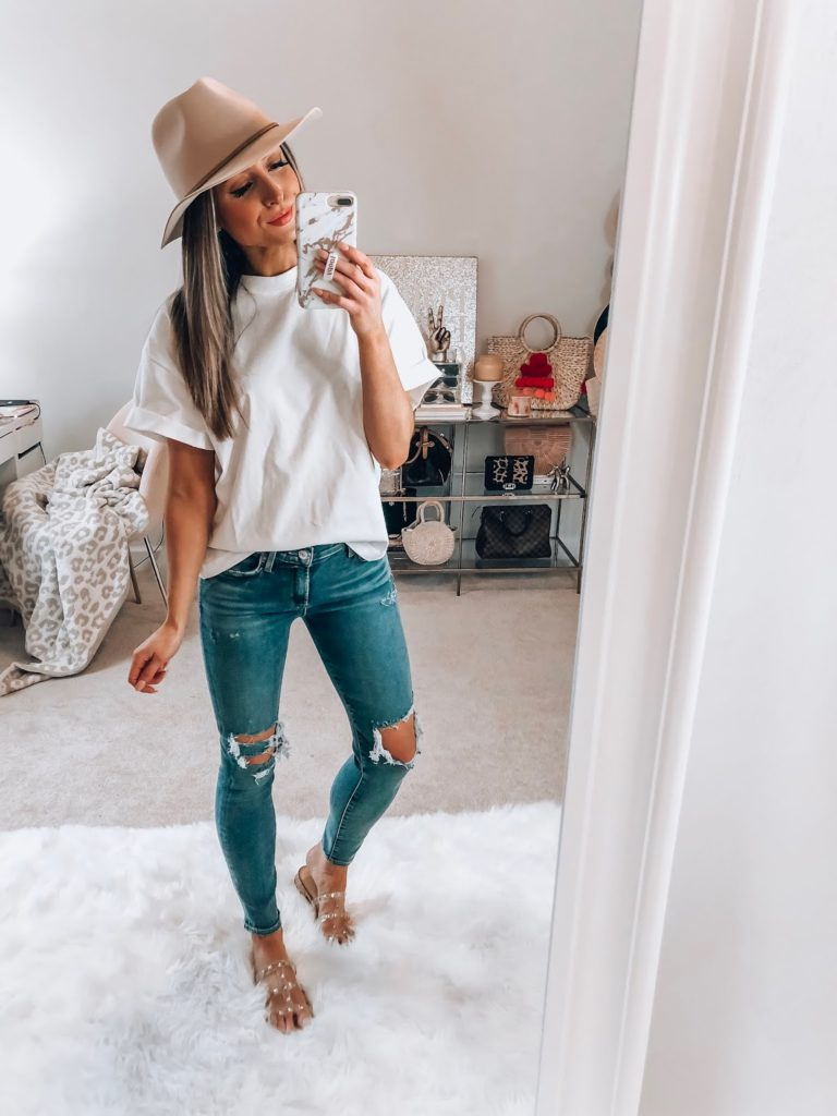 nordstrom topshop white boxy roll tee