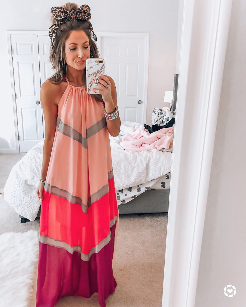 amazon halter striped color patchwork pleated back hollow out maxi long dresses