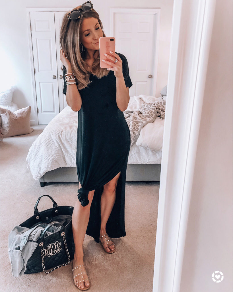 amazon black casual loose pocket long dress short sleeve split maxi dresses