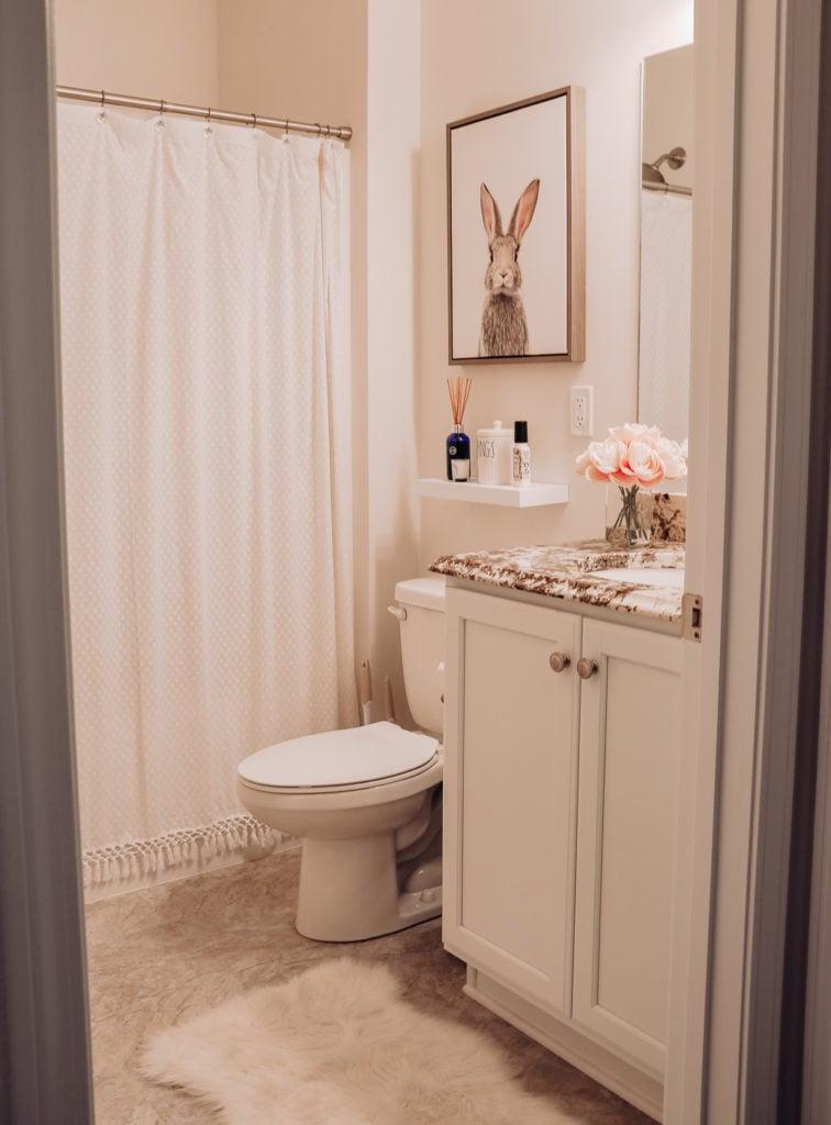 hall bathroom with bunny print