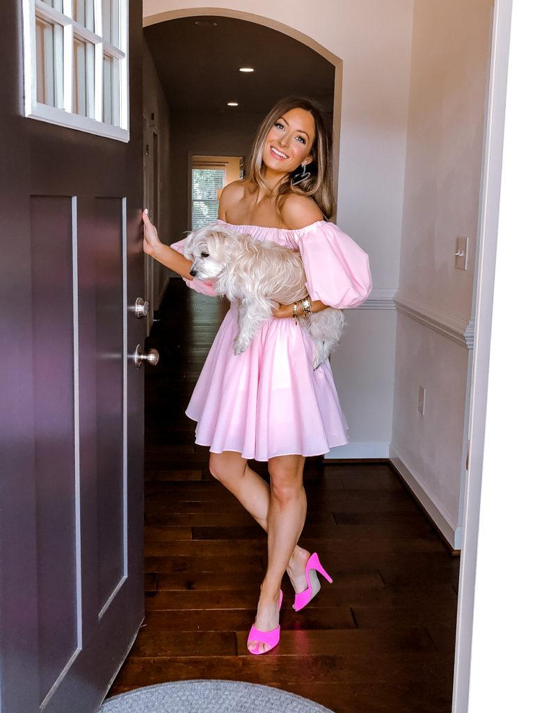 j.ing off the shoulder pink dress