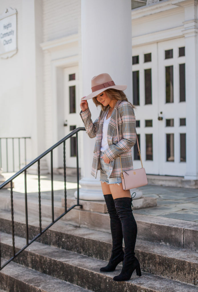 halogen plaid double-breasted blazer