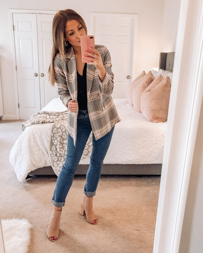nordstrom anniversary sale halogen plaid double breasted blazer