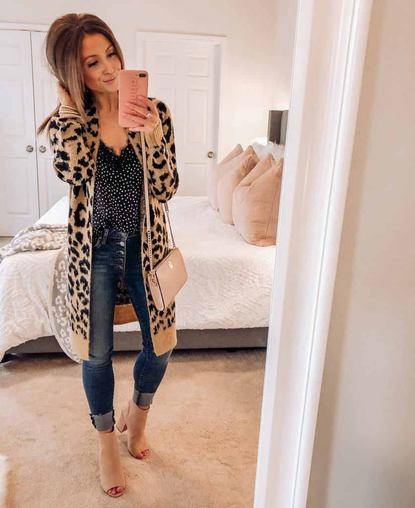 nordstrom anniversary sale bp long leopard jacquard cardigan