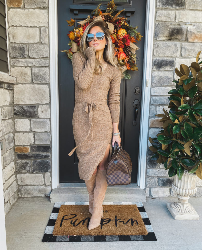 abercrombie tan tie waist sweater dress