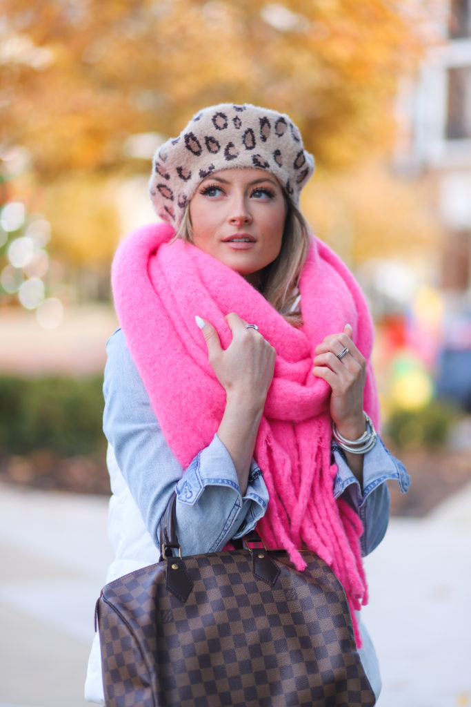 anthropologie pink barclay fringed wrap scarf