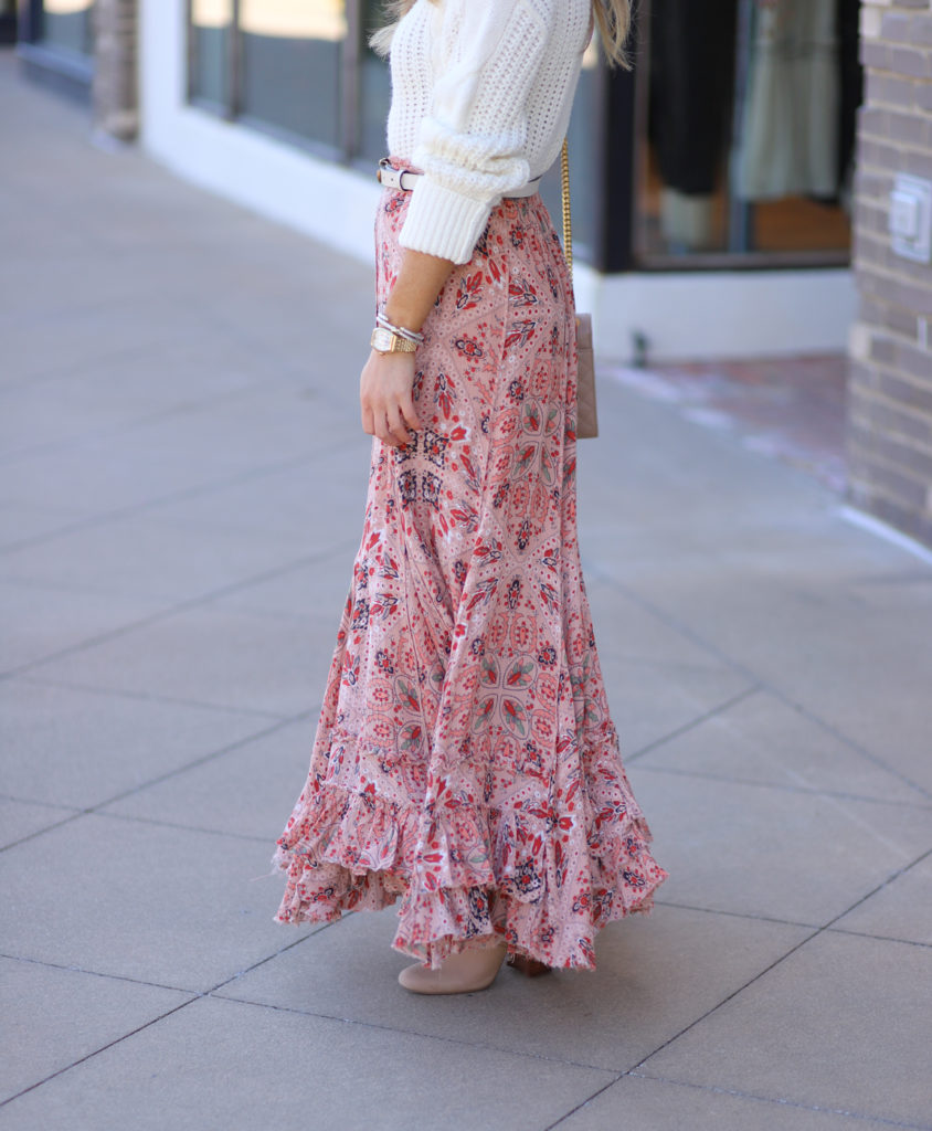 free people cypress printed ruffle skirt