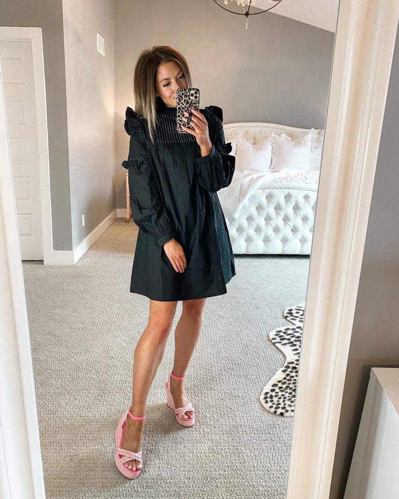 nordstrom topshop black ruffle dress