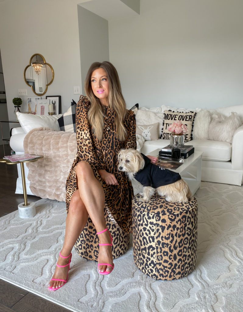 walmart scoop mock neck leopard dress
