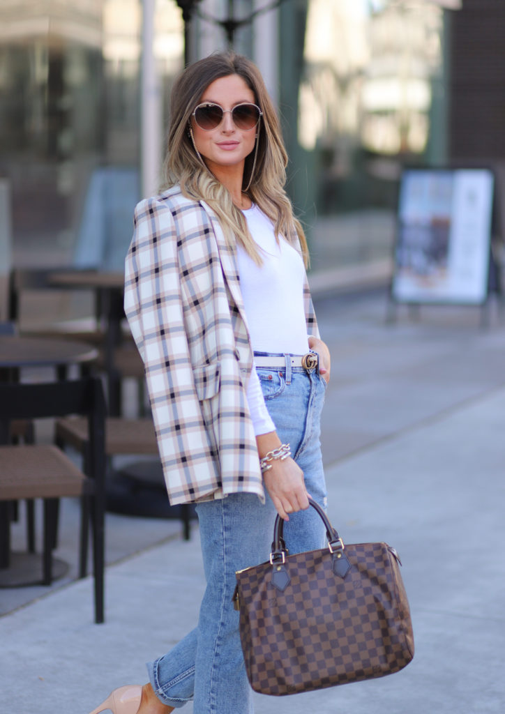 hm double breasted plaid blazer