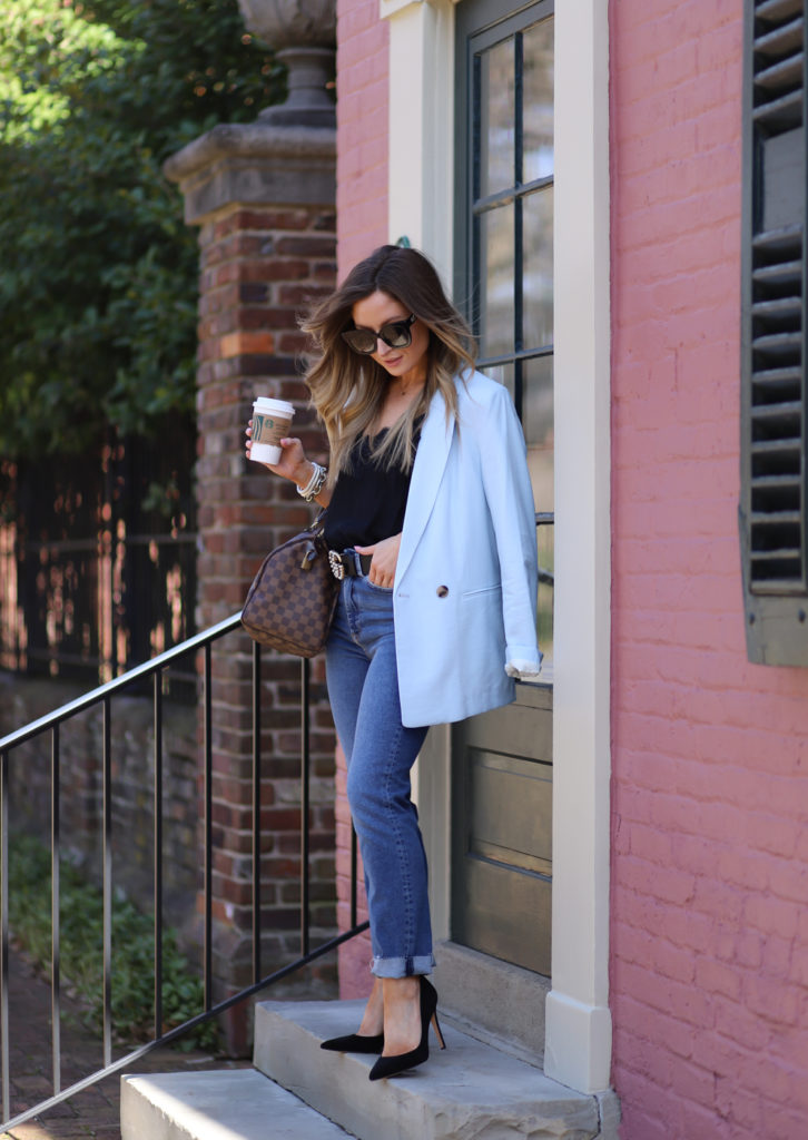 hm double breasted light blue jacket