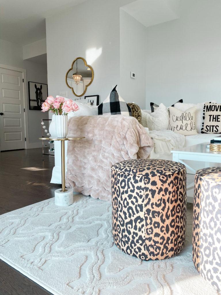 leopard stool living room