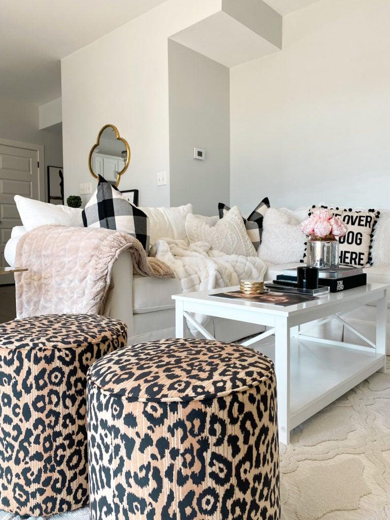living room decor leopard ottomans