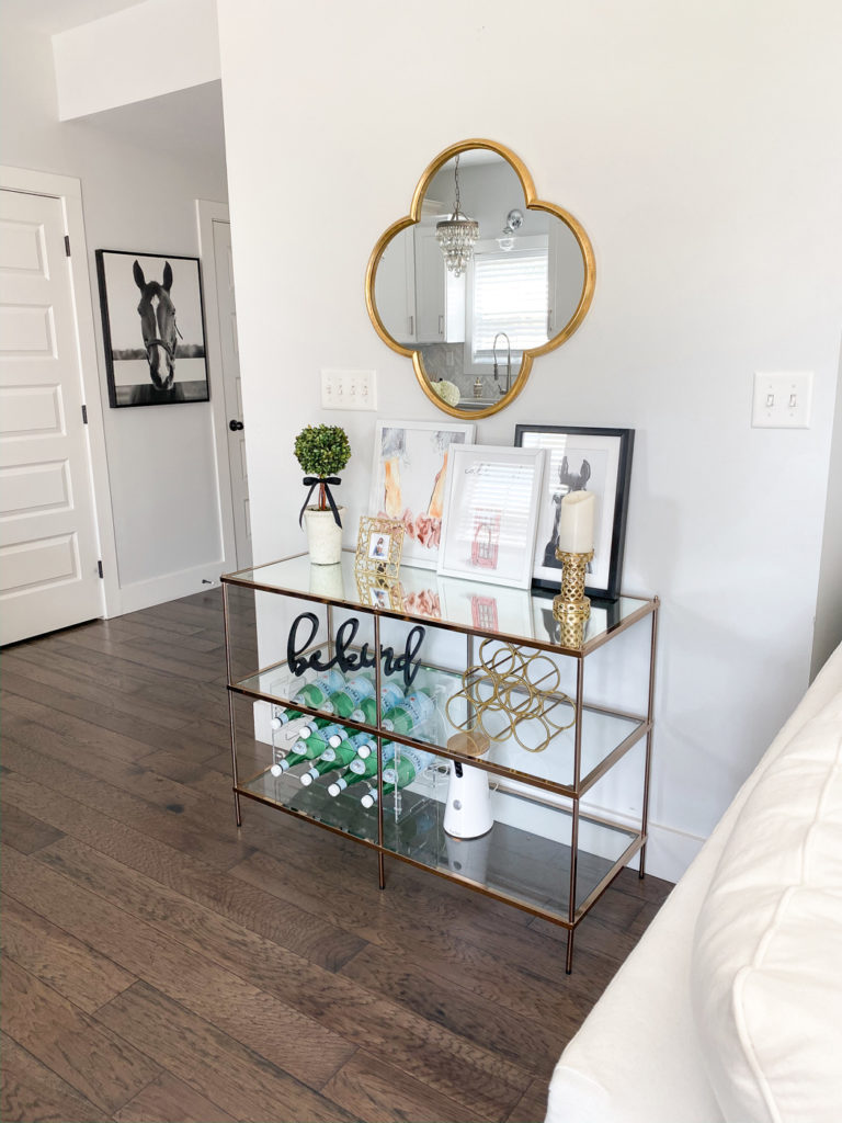 gold target console table