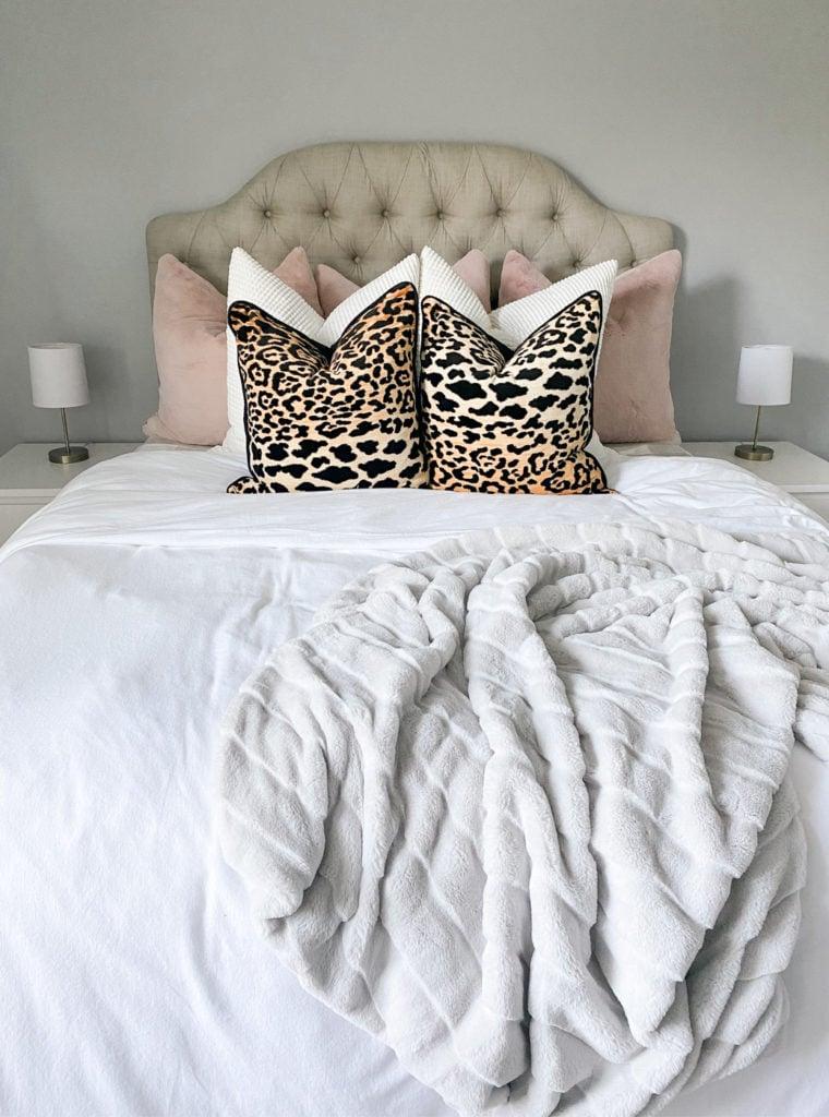 leopard throw pillows guest room