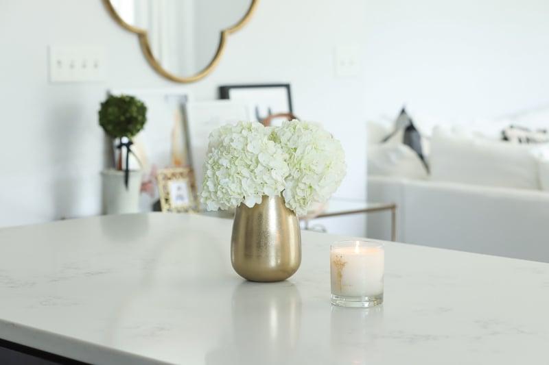gold target flower vase in kitchen