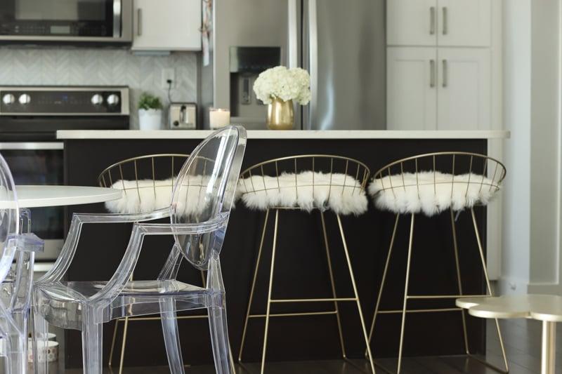faux fur gold bar stools