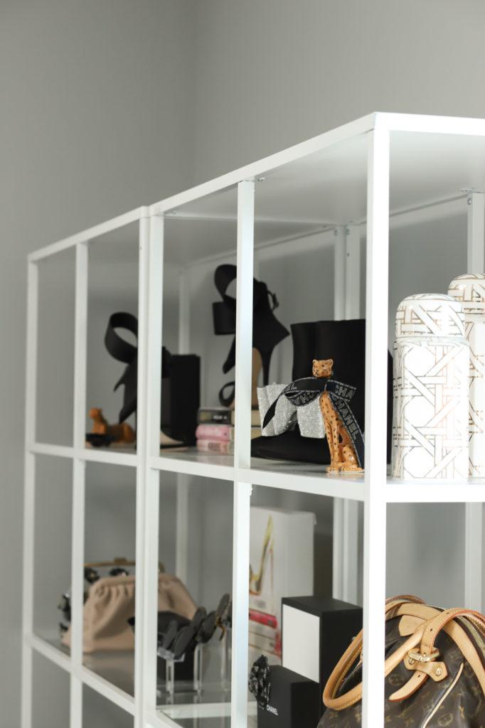 glam home office shelves