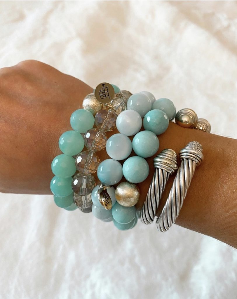 bourbon and boweties turquoise beaded bracelet stack with david yurman cable bracelets
